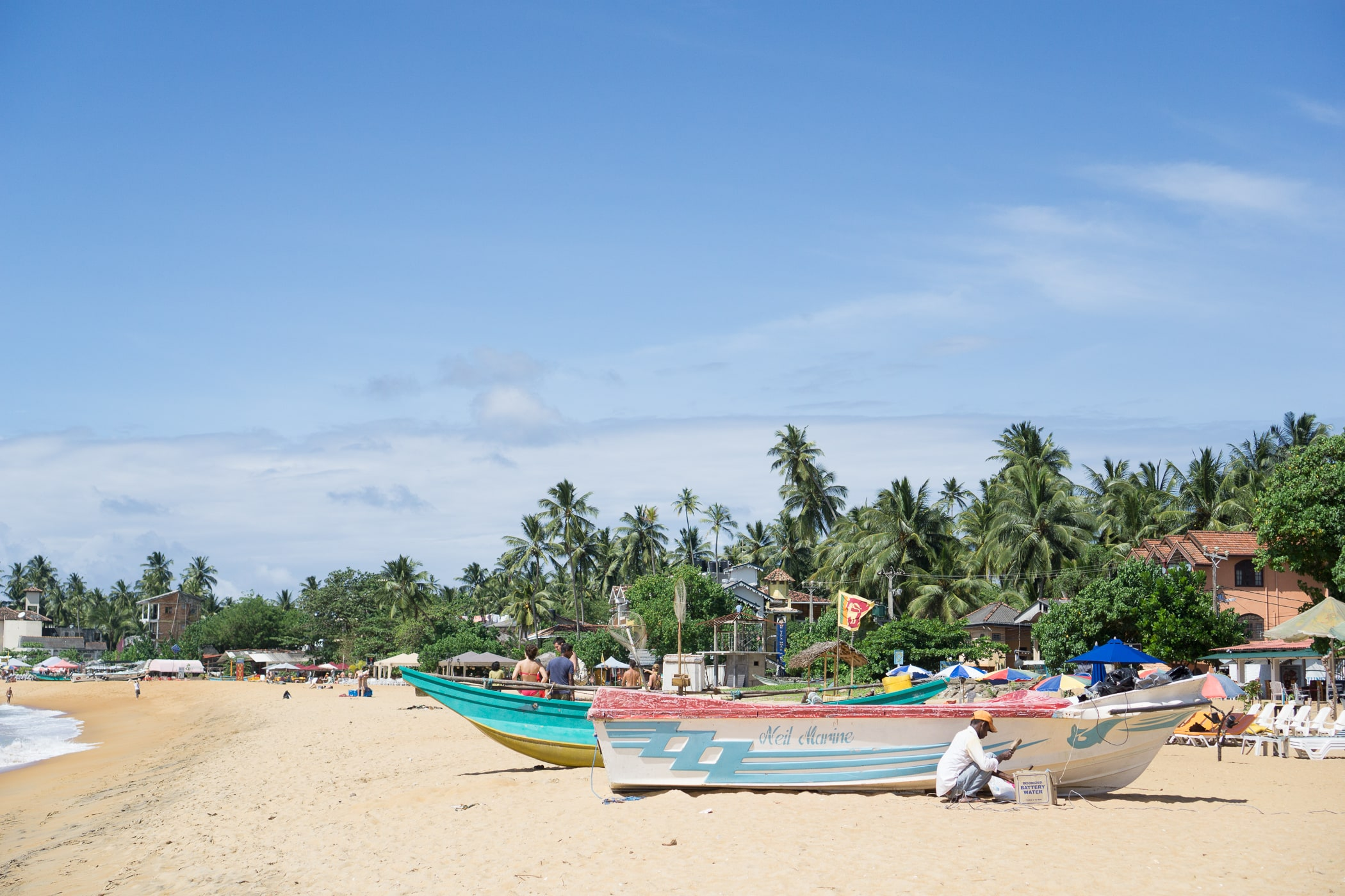 Boats along Unawatuna Beach in Sri Lanka