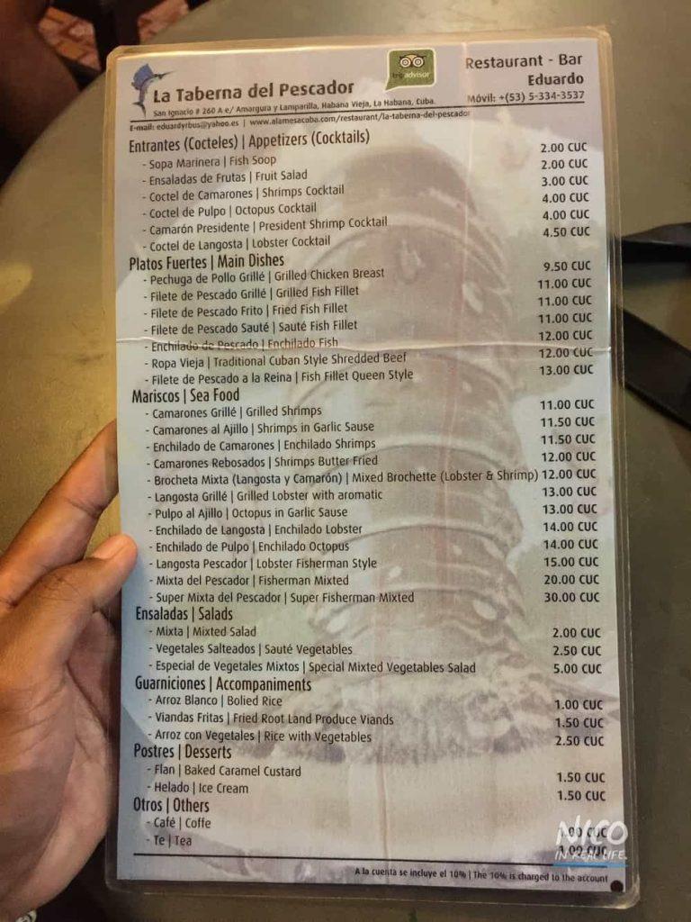 Restaurant menu for La Taberna Del Pescador in Havana, Cuba