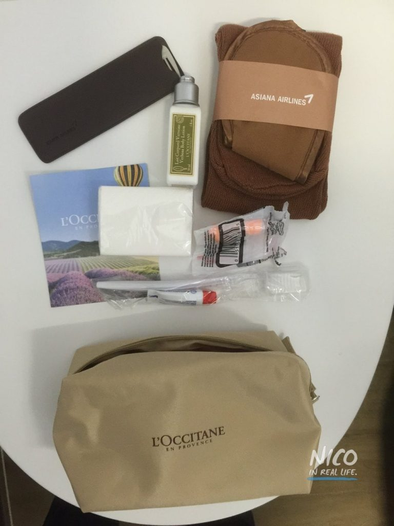 Asiana A380 Business Class amenity kit unwrapped