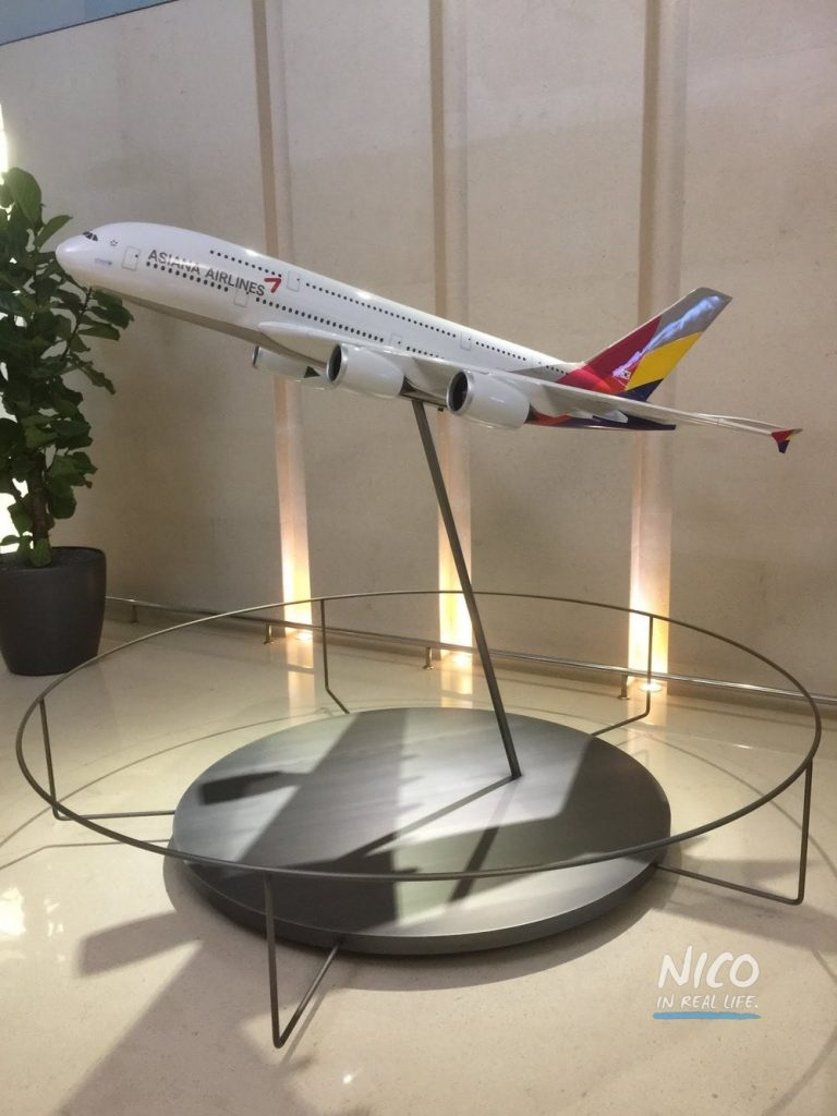 Model of Asiana Airlines A380 aircraft in the Business Class Lounge ICN