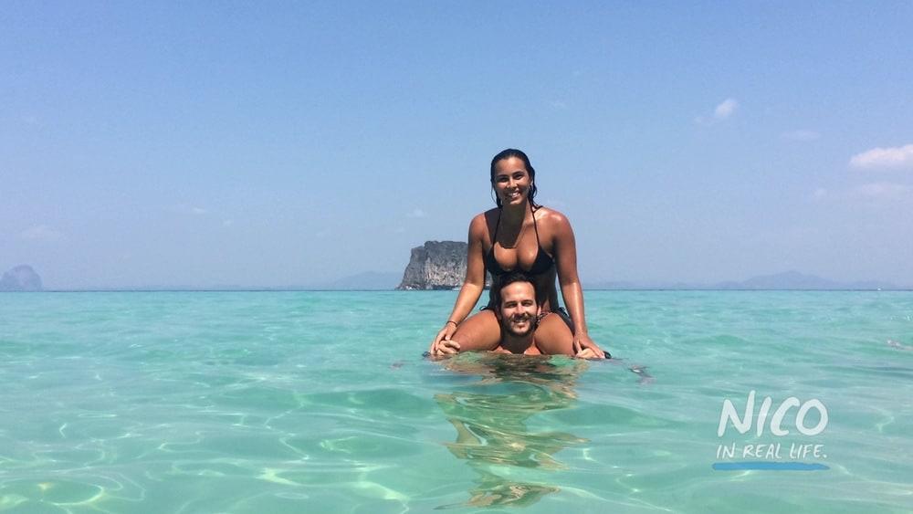 Katie & Felipe Mejia in the ocean