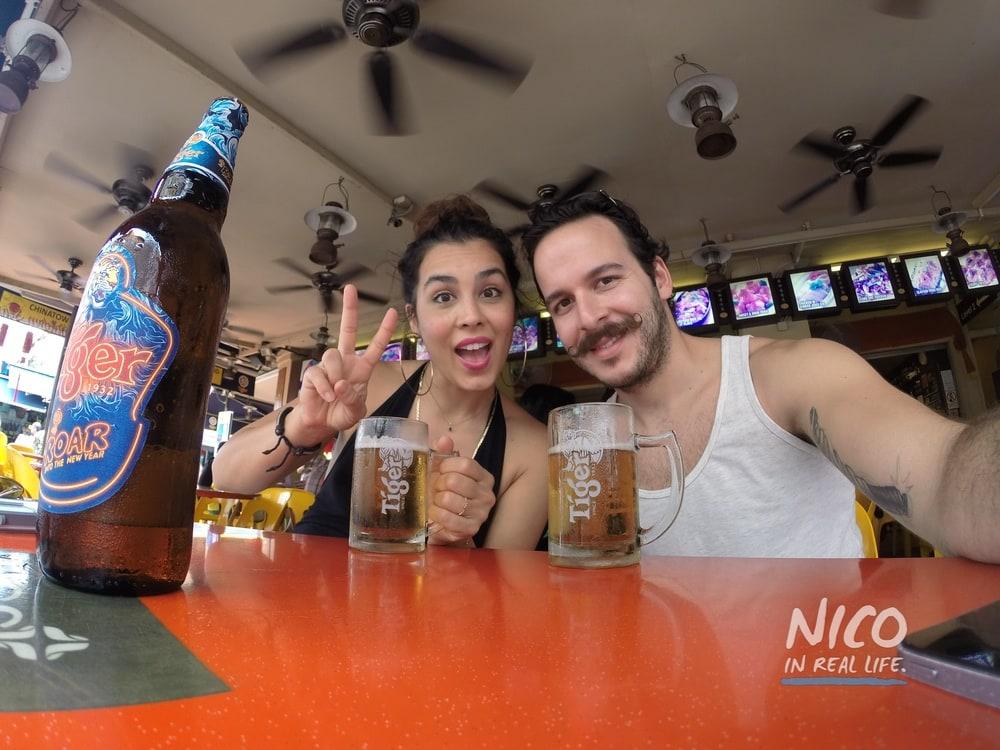 Katie & Felipe Mejia cheers for beers