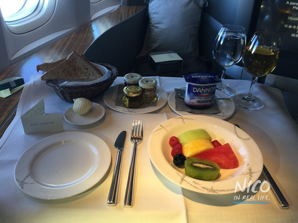 Cathay Pacific 777 First Class fresh fruit platter