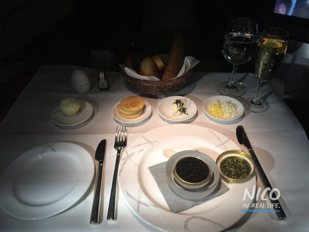 Cathay Pacific 777 First Class Caviar and Champagne