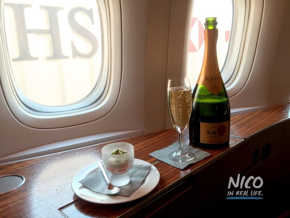 Cathay Pacific 777 First Class Krug Champagne Amuse Bouche