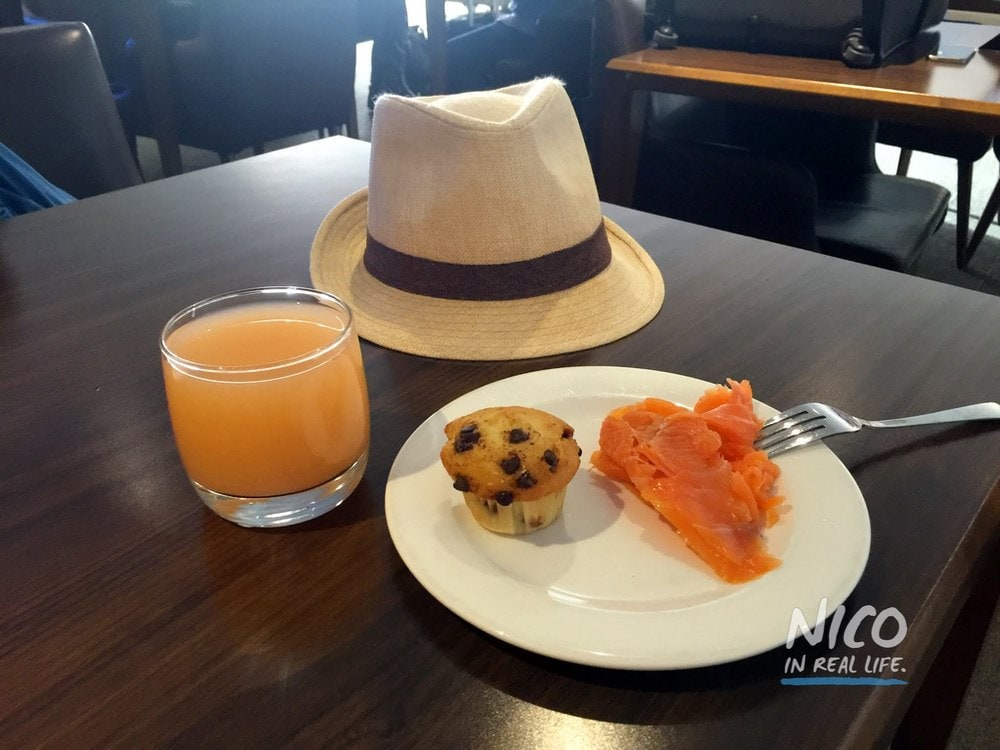 JFK First Class Galleries Lounge Salmon Breakfast