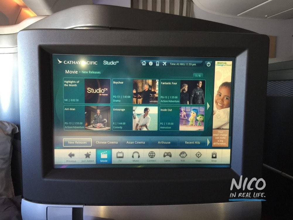 Cathay Pacific 777 First Class IFE Screen