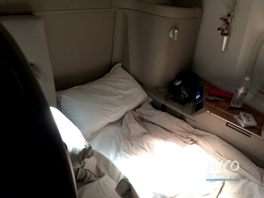 Cathay Pacific 777 First Class Lie Flat Seat Fully Extended
