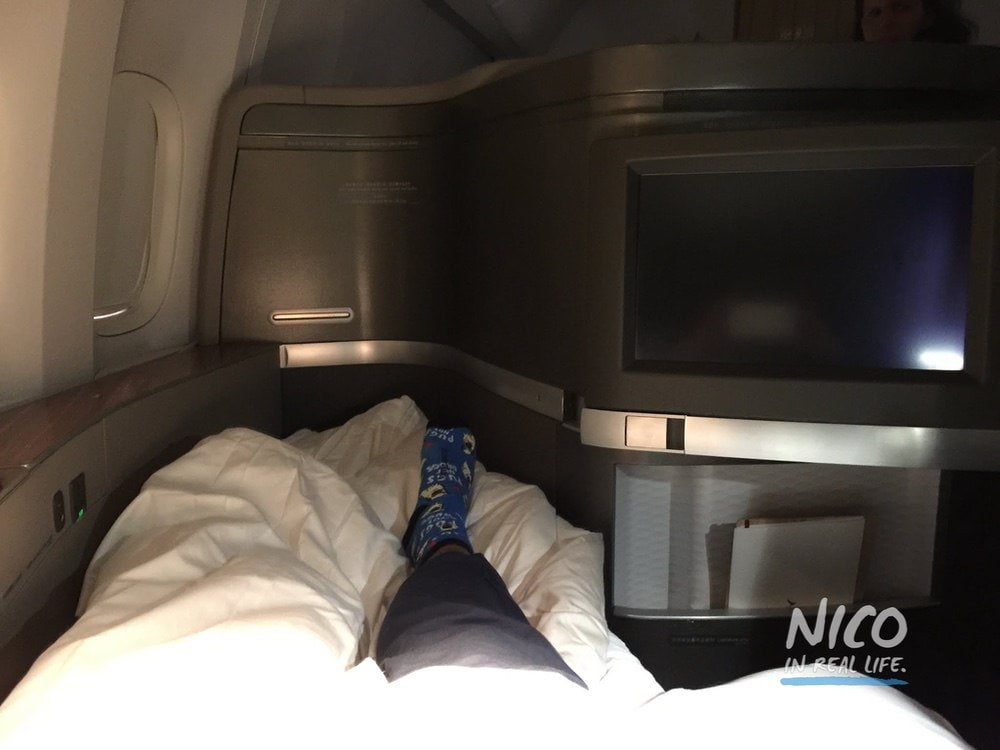 Cathay Pacific 777 First Class Stretched Out