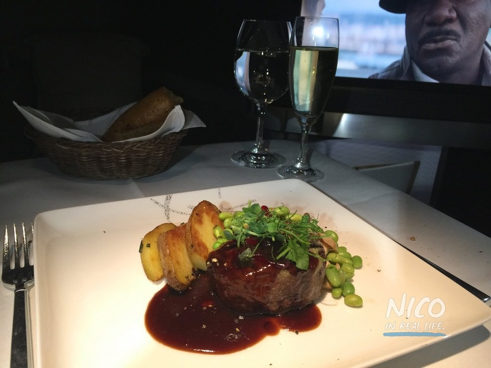 Cathay Pacific 777 First Class Steak Dinner