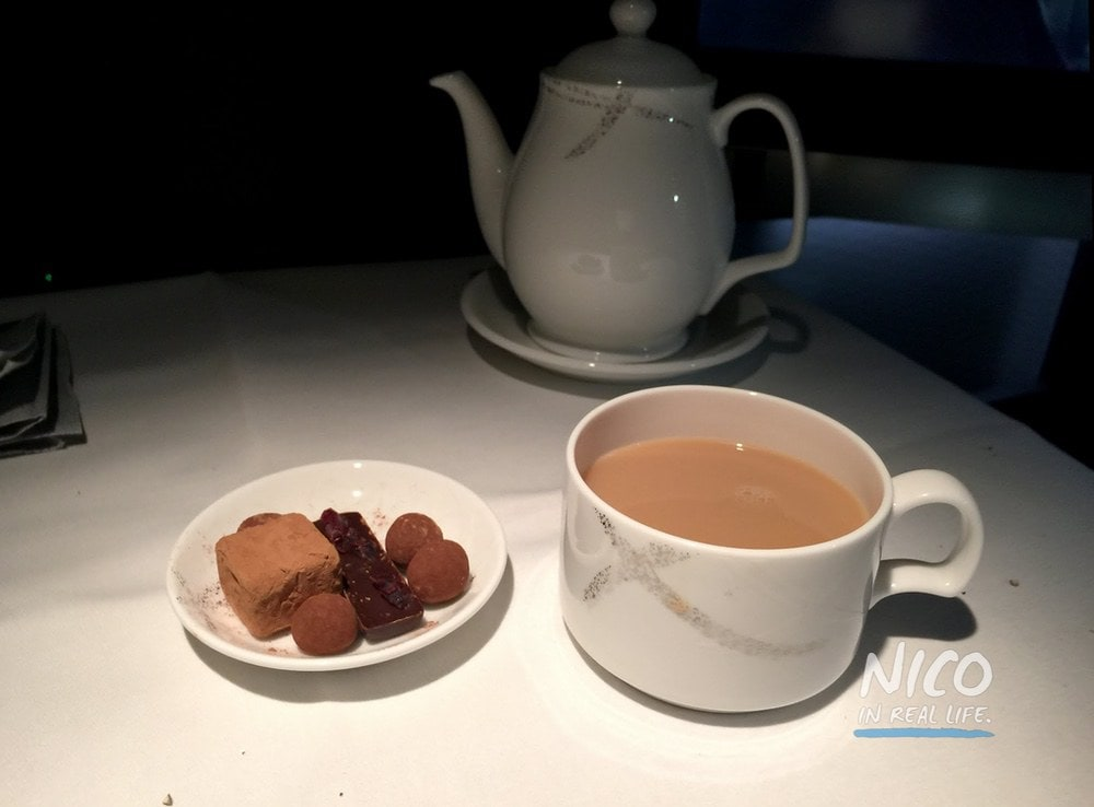Cathay Pacific 777 First Class Tea and Chocolate