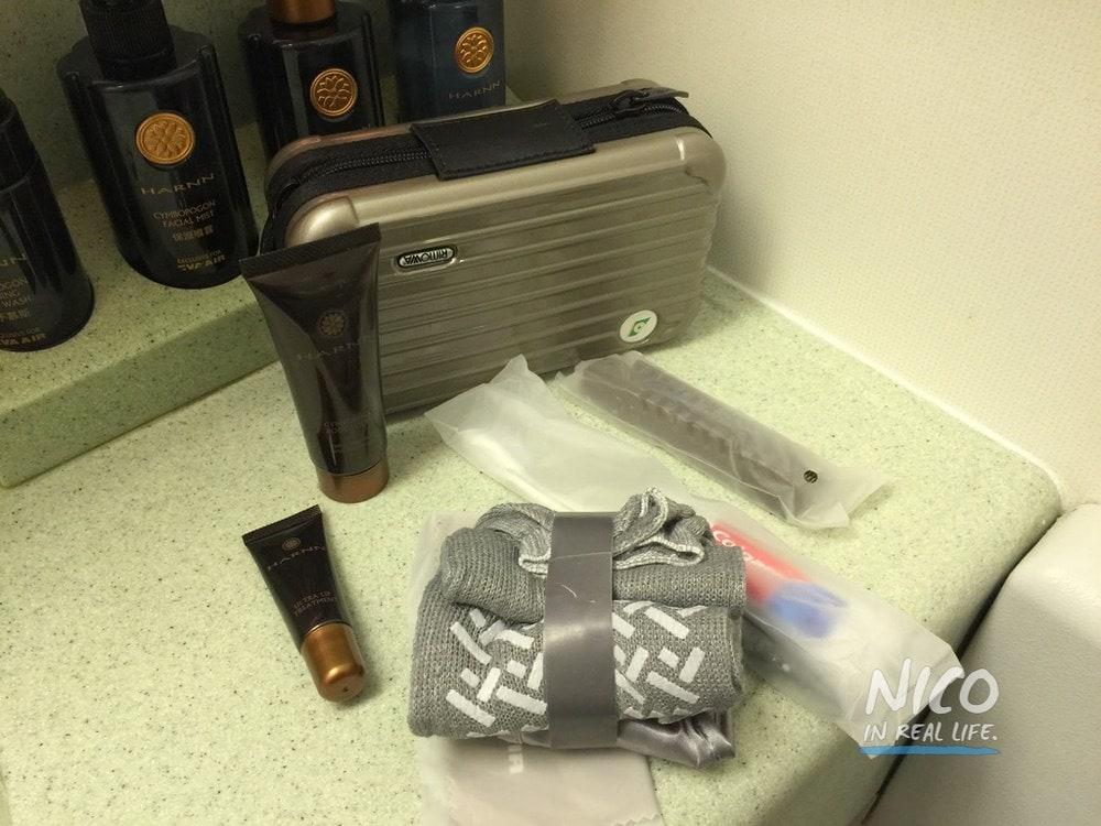Amenity kit unpacked on EVA Airways 777 Business Class