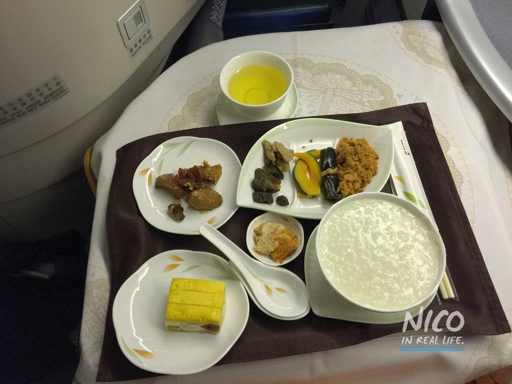Chinese Plain Porridge breakfast on EVA Airways 777 Business Class
