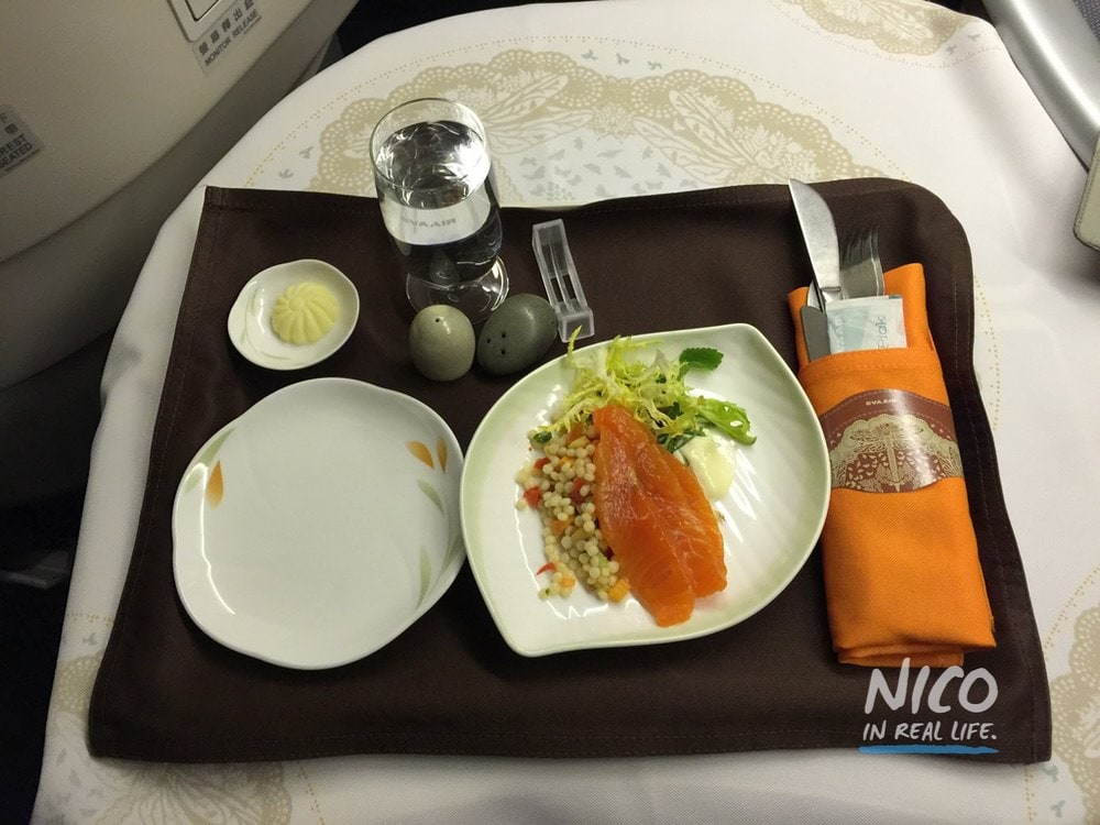 Sea trout and cous cous salad on EVA Airways 777 Business Class
