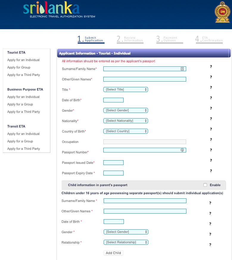 Sri Lanka Online ETA Step 1