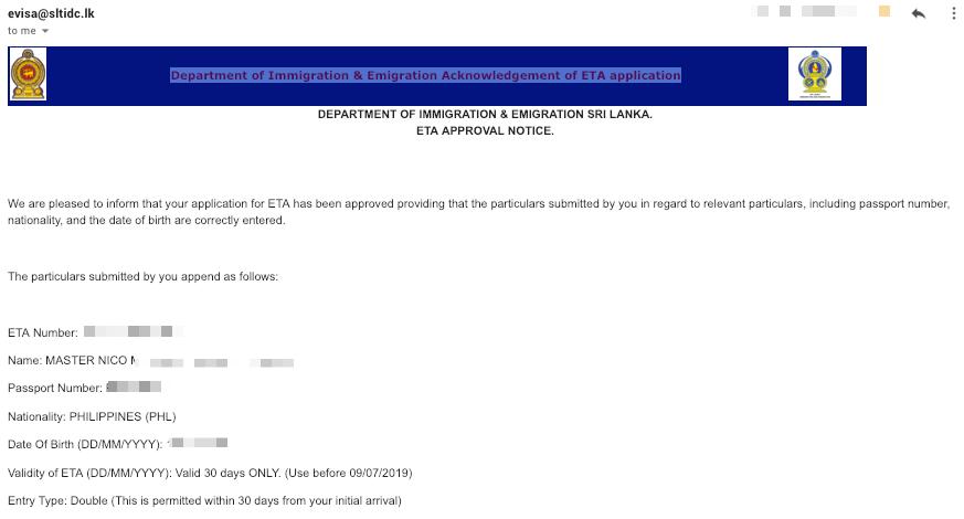 Sri Lanka Online ETA Success Email