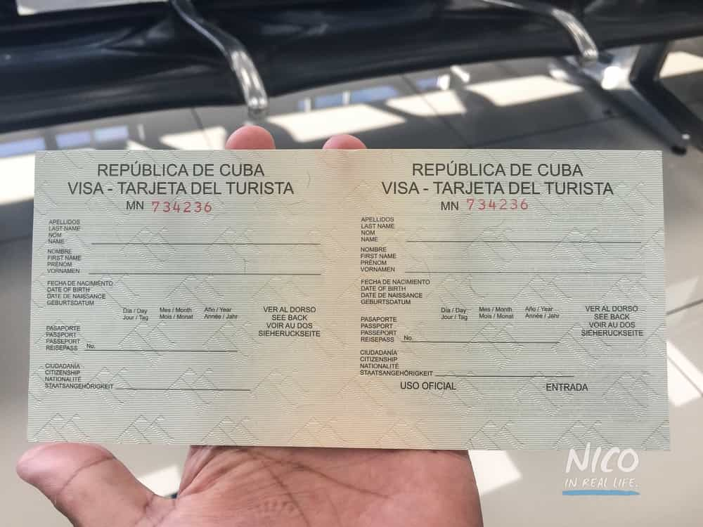 Cuba tourist card in order to be admitted into Cuba