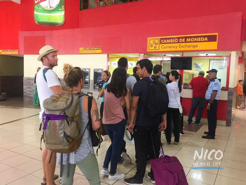 Currency exchange line at José Martí International Airport in Havana Cuba
