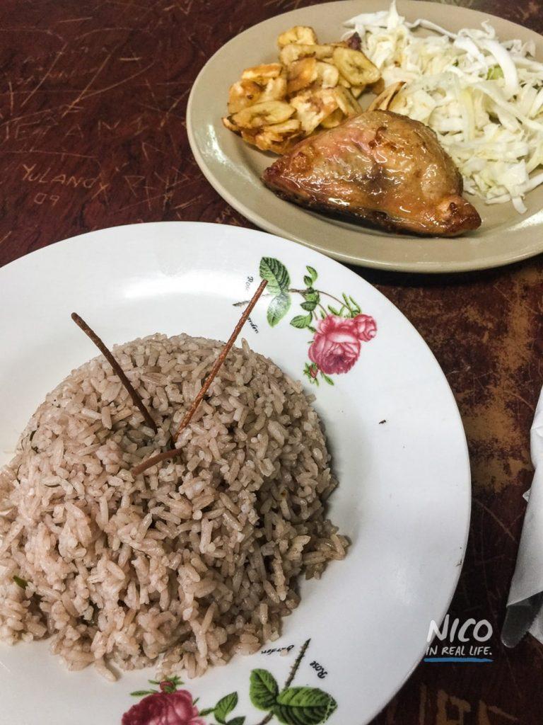Fried chicken and rice in Havana, Cuba