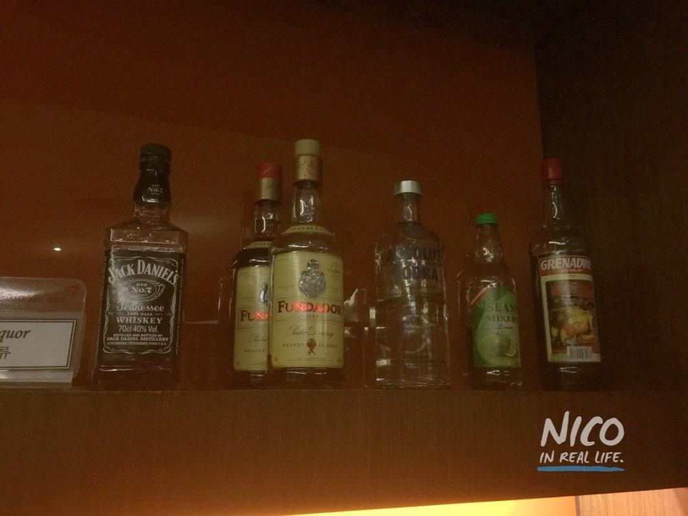Alcohol selection at Miascor Lounge - MNL