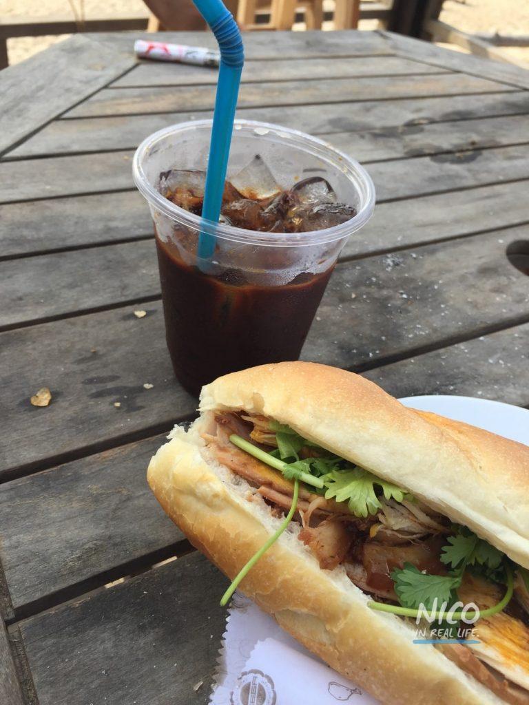 Vietnamese Banh Mi and Iced Coffee in Mui Ne, Vietnam