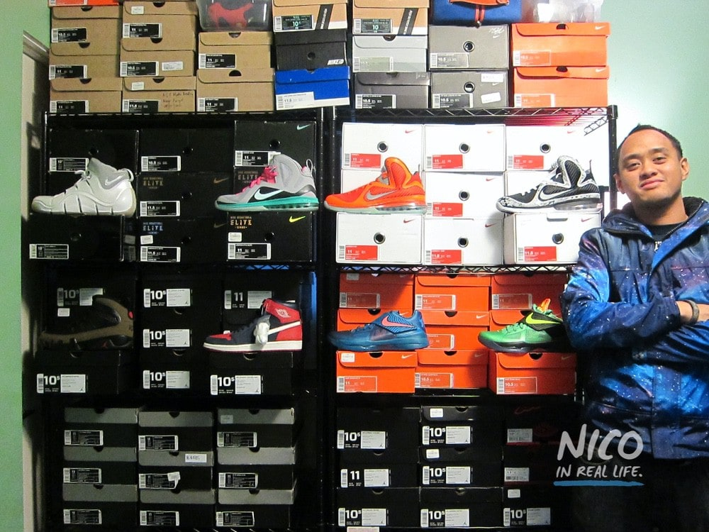 Standing in front of a sneaker wall