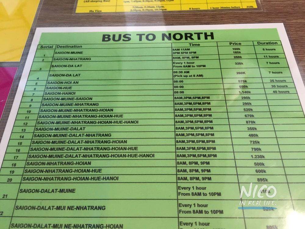 Sample Vietnam bus prices