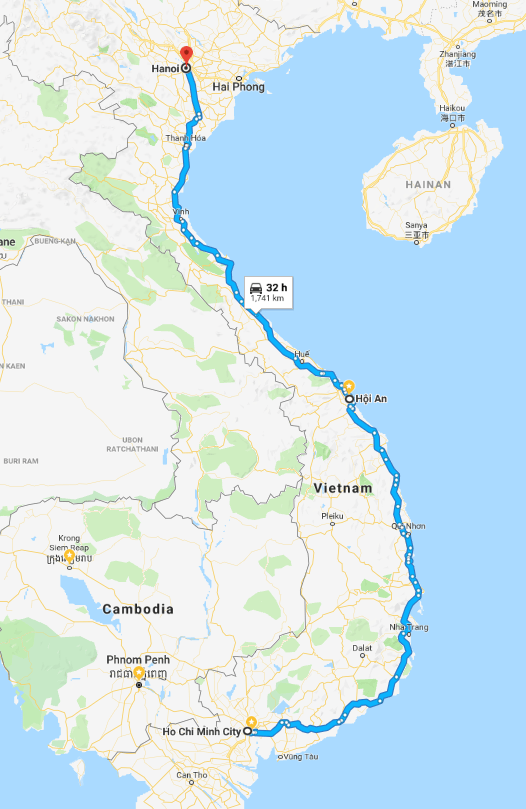 Map of route from Ho Chi Minh to Hanoi