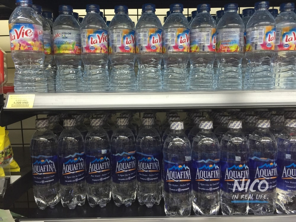 Bottled water on a shelf in Ho Chi Minh City, Vietnam