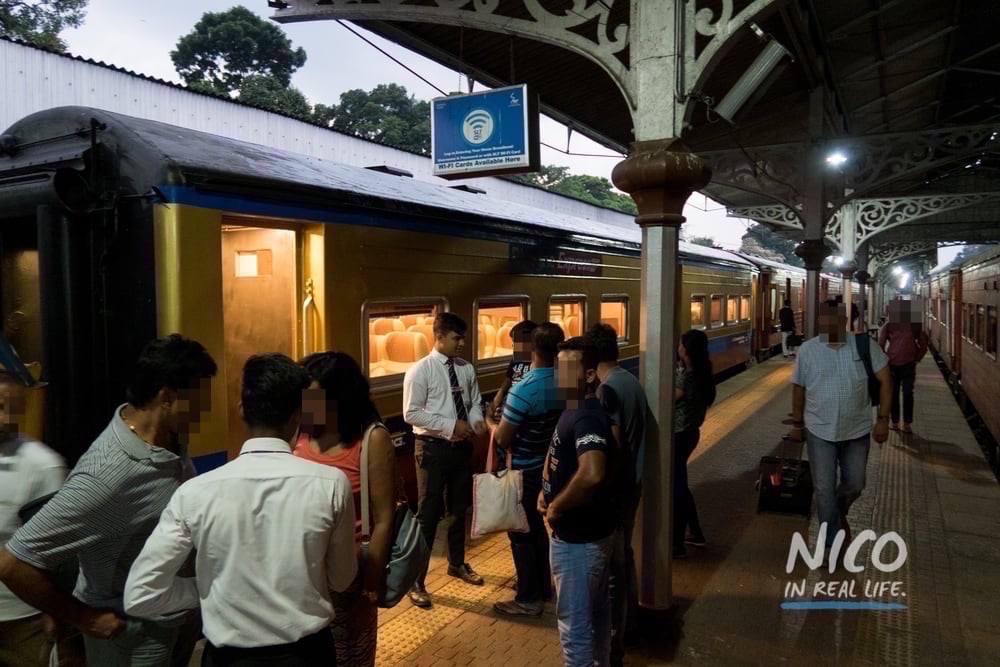 Pulling into Kandy Railway Station in the evening