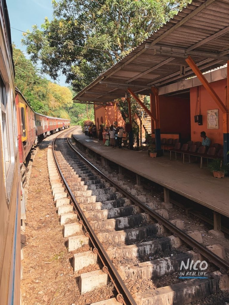 Going past a station on the Blue Line Express Train to Colombo