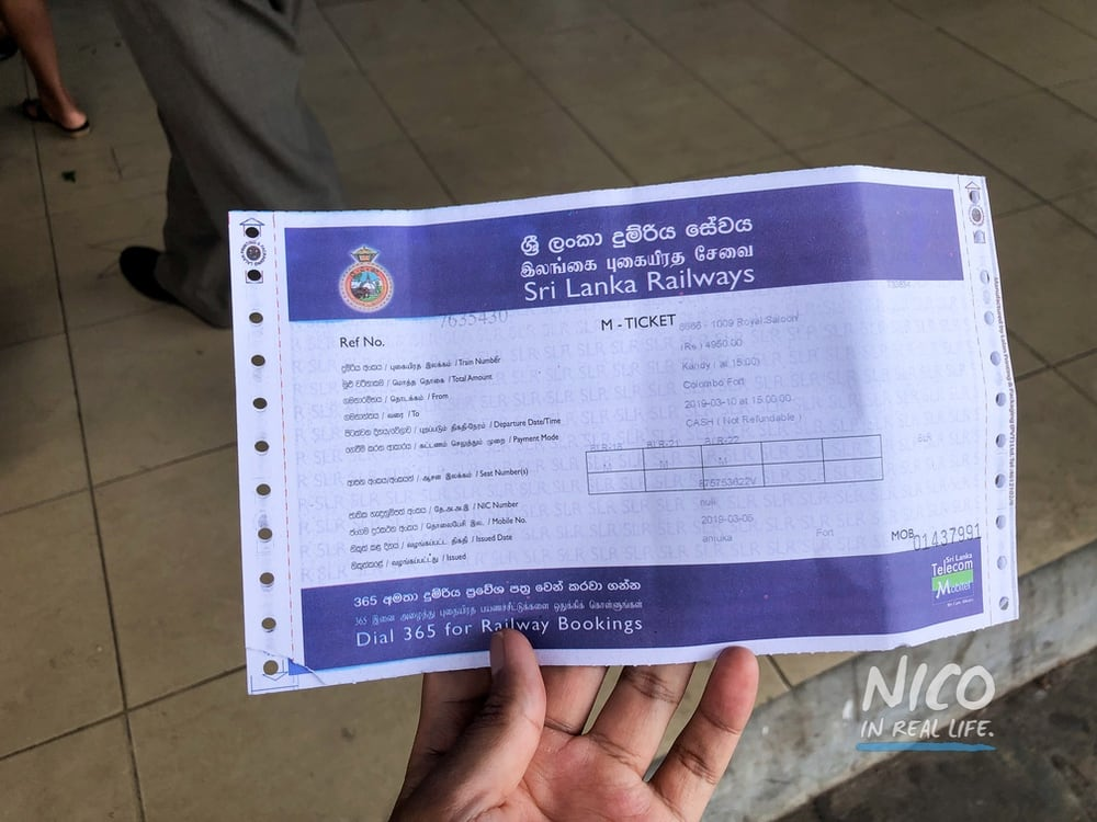 Train tickets for Blue Line Express Train Colombo Kandy Sri Lanka