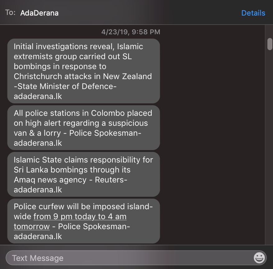 Texts I received about the SL Easter Attacks