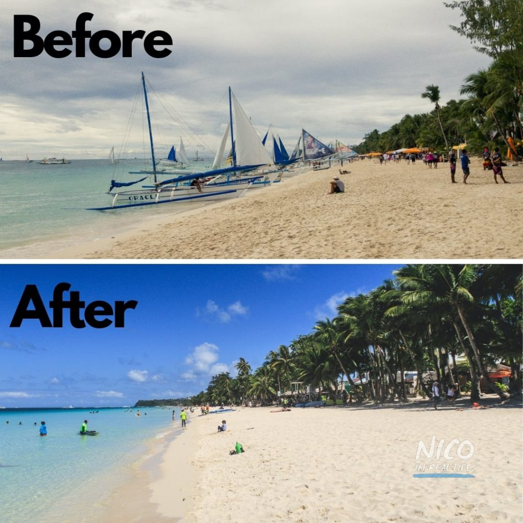 Before and after the Boracay cleanup along Station 3