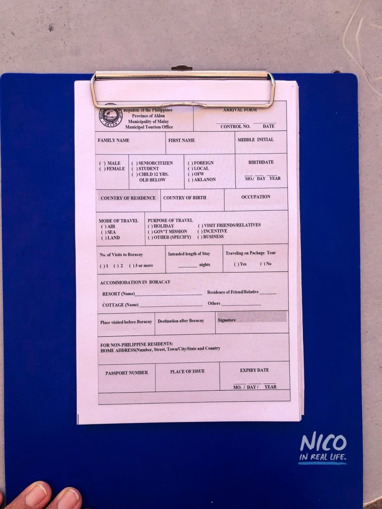 Tourist registration form in Caticlan Jetty Port