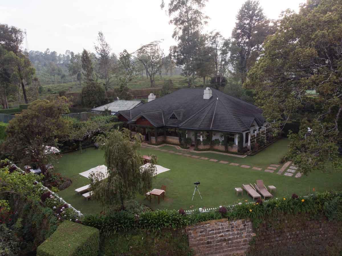 Overhead ariel view of Stafford Bungalow Nuwara Eliya Sri Lanka